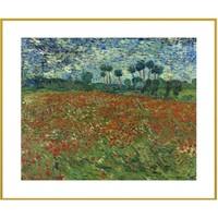 buybuyART 买买艺术 梵高 风景艺术油画《罂粟田》画框尺寸50x40cm 美术纸 金色框