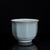 哥窑八方杯 6.6x5cm 哥窑 容量75ML 冰裂纹 可养可开片