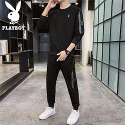 PLAYBOY 花花公子 卫衣套装男2021秋季韩版男士套装长袖男装潮流圆领卫衣休闲裤两件套 黑色 M