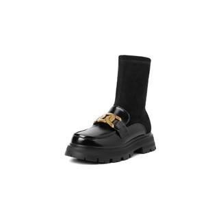 BeLLE 百丽 厚底袜子鞋女2021秋新款商场同款钱串JK鞋短靴