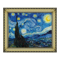Artron 雅昌 梵高油画《星夜》背景墙装饰画挂画 宫廷金 52.5×44cm