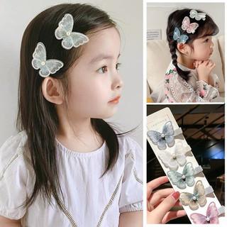 安波尔特 立体蝴蝶发夹儿童发卡刘海公主女童刺绣头饰发箍 发夹 粉色2对4个