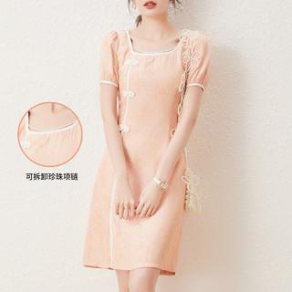 可拆卸珍珠链旗袍21夏新款复古中国风连衣裙女裙子