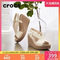 crocs 卡骆驰 Crocs女鞋 卡骆驰布鲁克林女士高跟鞋夏季厚底坡跟凉鞋|206222