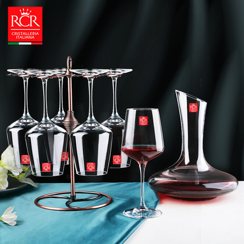 RCR 无铅水晶玻璃进口红酒杯酒具套装 466ml杯子*6+2000ml醒酒器 含精美杯架+开瓶器+瓶塞+杯刷
