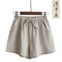 LING JING 灵镜 LJ-516 女士高腰棉麻短裤