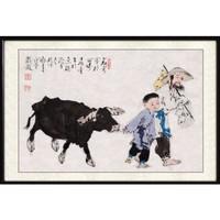 尚得堂 手绘国画 古典人物画 95×65cm 水墨画挂画现代中式客厅沙发背景装饰墙画