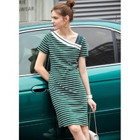 AMII Amii极简法式小众V领连衣裙2021夏新款条纹裙子女印花露肩锁骨裙