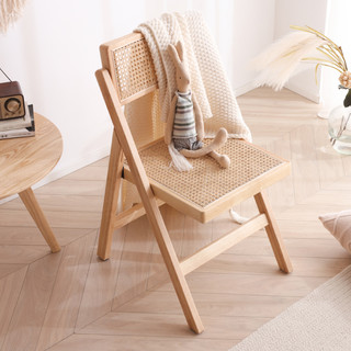 卢西彼海 实木椅子可折叠单人椅网红ins橡胶木靠背椅原木色日系藤编餐椅子
