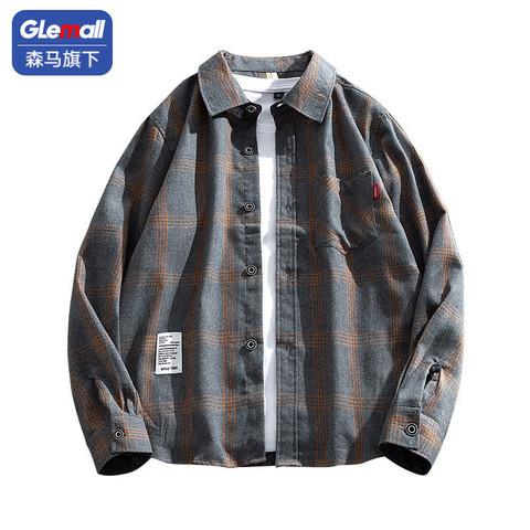 森马旗下Glemall衬衫男士薄款长袖夏季新款港风防晒衬衣潮流外套