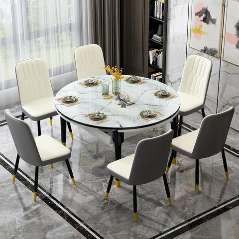 健康民居大理石餐桌椅组合折叠可变长方形桌子家用小户型圆形饭桌