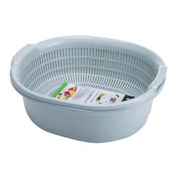 全适 沥水篮双层大号沥水架漏筛旋转圆形洗菜盆 厨房洗菜蓝水果篮 蓝色