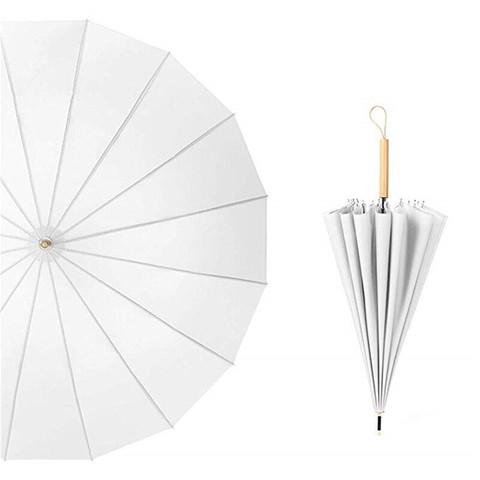 Le Bronte 朗特乐 文艺小清新16骨长柄雨伞复古晴雨两用古风森系日系小清新直杆伞双人伞遮阳伞 白色直柄