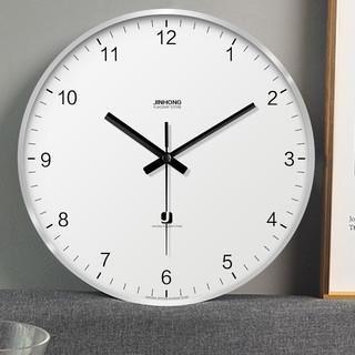 朗越 挂钟创意简约钟表金属铝框 10英寸直径25厘米