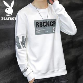 PLAYBOY 花花公子 卫衣男2021春季韩版长袖圆领衣服男士青年修身潮牌套头上衣男装 白色 XL