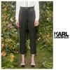 KARL LAGERFELD 卡尔·拉格斐 天丝斜纹皮质腰袢女式休闲裤