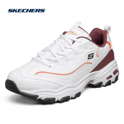 SKECHERS 斯凯奇 男鞋潮流厚底老爹鞋男子运动鞋 894009 WBUG白色/酒红色 41