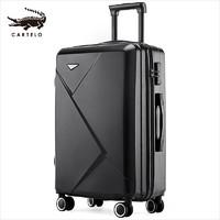 CARTELO 卡帝乐鳄鱼 拉杆箱男女行李箱登机箱万向轮旅行箱 24英寸密码箱子 幻影黑