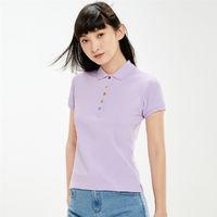 女士新款彩虹纽扣弹力棉短袖休闲运动POLO衫女款 L 兰紫(83)