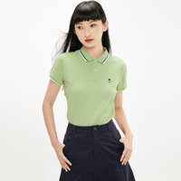 小王子刺绣polo衫女式t恤弹力棉透气短袖女运动polo衫 XL 绿色(56)