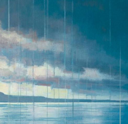 Ben Art Gallery 本艺术空间 刘锋 人物风景油画作品《水注天湖的地方》50x40cm 水彩纸 白色实木画框