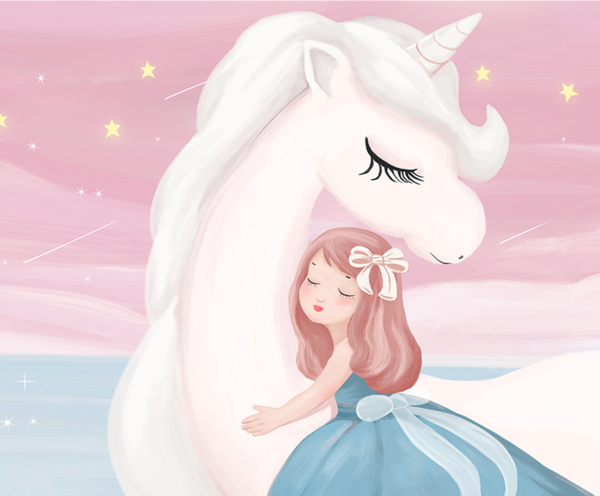 海龙红 粉色公主儿童房装饰画《梦乡 A款》30x120cm 油画布 浅木纹