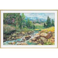 橙舍 胡国良 山水风景油画《山川印象》装裱80x120cm 油画布 鎏金