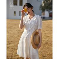 DUSHU 独束 大码女装刺绣连衣裙女夏季2021年新款法式复古显瘦桔梗裙 白色 M