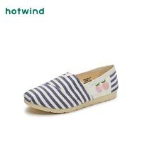 hotwind 热风 21年春季新款女士时尚条纹布鞋平底单鞋休闲鞋H30W1582