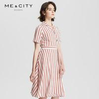 ME&CITY 亚麻MECITY女装简约工装风系带条纹连衣裙