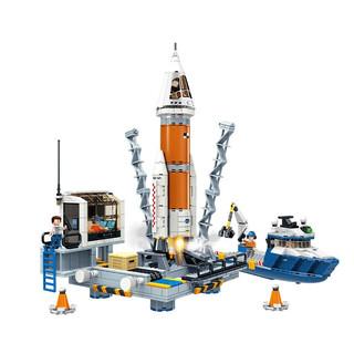 GUDI 古迪 儿童拼装城市系列客机积木玩具塑料立体拼插组装玩具消防飞机机场男孩礼物玩具 亚特兰蒂发射中心905片