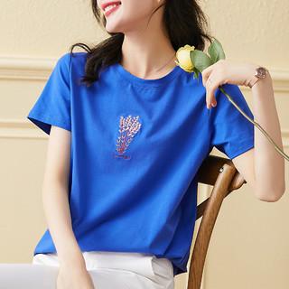 MARK FAIRWHALE 马克华菲 2021年夏季新款短袖T恤女装韩版宽松蓝色超火上衣服ins潮