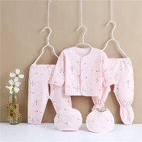 雅澜清 新款婴儿衣服棉五件套小树小鹿-系扣-粉色