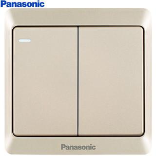 Panasonic 松下 开关插座 二开双控开关面板 带荧光双开双控墙面开关 雅悦香槟金 WMWA514Y-N