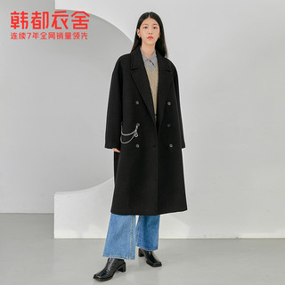 HSTYLE 韩都衣舍 黑色大衣宽松显瘦毛呢外套2021春季中长款上衣女DM0098