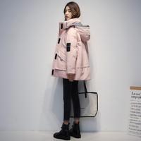 YALU 雅鹿 反季羽绒服女2020年新款短款连帽冬季防寒服工装保暖派克服外套女士 黑色 L