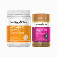 Healthy Care 维生素C 咀嚼片 500片+葡萄籽 胶囊 200粒