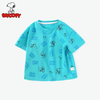 史努比男童T恤男宝宝打底衫2021夏季新款儿童短袖上衣圆领薄款潮