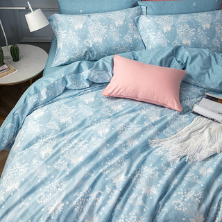 LUOLAI 罗莱家纺 全棉斜纹四件套 纯棉亲肤床单被套 双人 铃兰梦 1.8米床 220*250cm