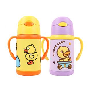 B.Duck 小黄鸭学饮杯婴儿童吸管手柄316不锈钢水杯300ml儿童杯子