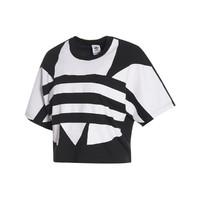 adidas ORIGINALS 短款时尚气质休闲 女款运动短袖休闲T恤三叶草
