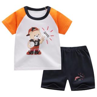 童非得衣 儿童短袖套装纯棉短袖T恤短裤男女童夏季童装衣服 K009-插肩小熊 100cm
