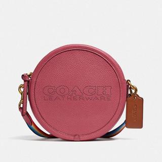COACH 蔻驰 送女友 蔻驰(COACH) 奢侈品 女士专柜款KIA系列小号圆形手袋单肩斜挎包梅子红色牛皮革 C3427 B4U6