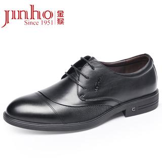 JINHOU 金猴 时尚系带商务圆头休闲鞋 绅士耐磨皮鞋男 黑色40码