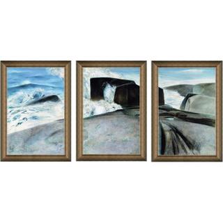 Artron 雅昌 庞涛《屹立的礁石》装饰挂画 53×81cm/幅 现代简欧式山水风景油画三联