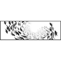 积善 卧室床头装饰画 千鱼百寻 120×30cm 简约抽象艺术欧式现代餐厅挂画