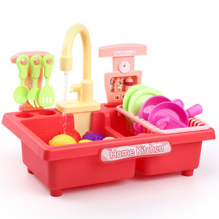 Disney 迪士尼 儿童洗碗机 过家家玩具 电动出水-樱花粉 标准版