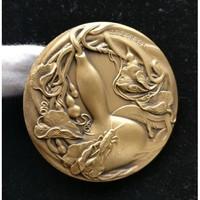 沈阳造币 福禄百财大铜章 60MM 黄铜 重约193克