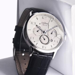 LORSSON 罗臣 男士手表 德国手表 原装进口 全自动机械表匠心系列多功能夜光机械腕表 5ATM防水 白盘黑带LC3316L7A1(古天乐同款)
