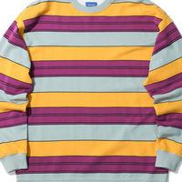 BEAMS 条纹拼色圆领卫衣
